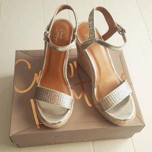 b48e1d5e6e5 Crown Vintage Shoes - Crown Vintage Silver Vediccity Wedge Sandal Sz 10